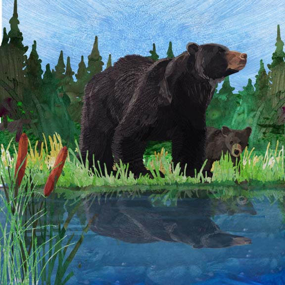 Black Bear and Cub Wall Art - Two Can Art Store